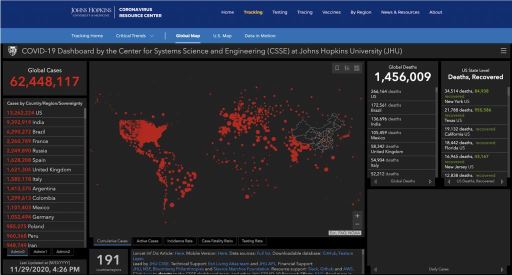 Dashboard dati Johns Hopkins University
