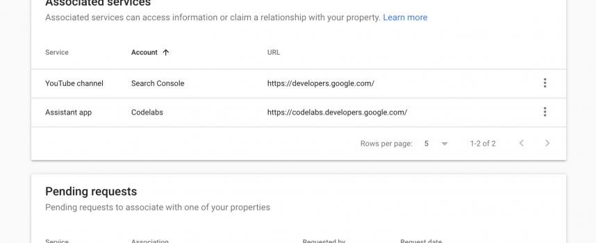 Search Console: nuova funzione per associare un altro servizio Google
