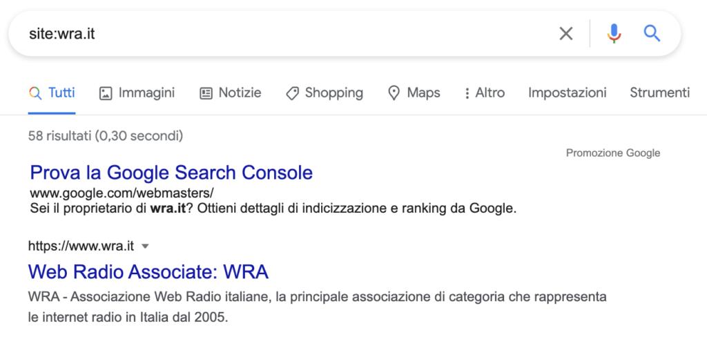 Risultato ricerche tramite site: